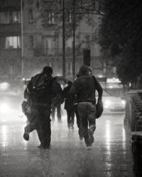 Escaping the rain by Orioto