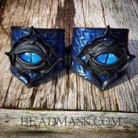 Leather Lotus Cuffs with Glass Eyes by Beadmask