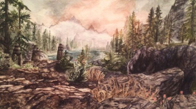 Skyrim Landscape Watercolor by QueenRose84