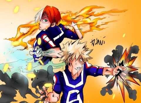 Bakugou VS Shouto by The3schizos7467