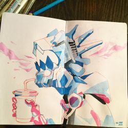 robot head gouache watercolor by HJeojeo