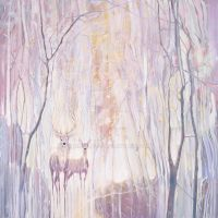 Ethereal - white deer in a white winter forest by Missile20
