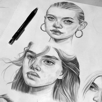 Pencil sketches - Brooke Shields and Gemma Ward by Tomasz-Mro