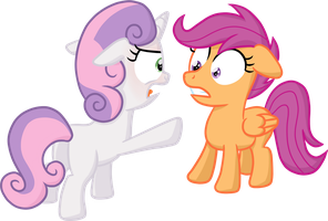 Sweetie Belle being angry at Scootaloo by moemneop