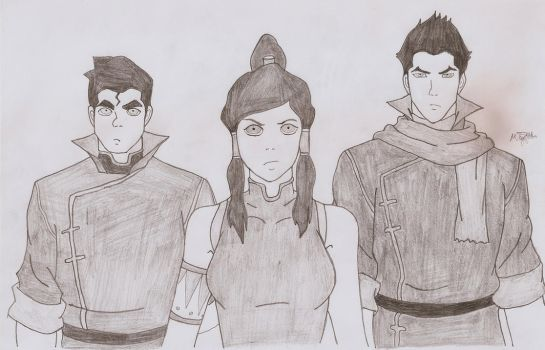 The Fire Ferrets ( Korra Mako and Bolin) by MEAltair