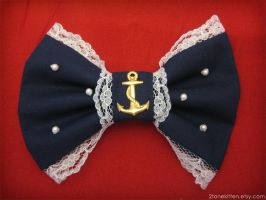 Sailor Lolita Navy Hair Bow by IchigoLoli