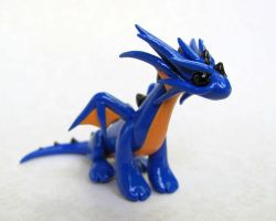 Blue and Orange Dragon by DragonsAndBeasties