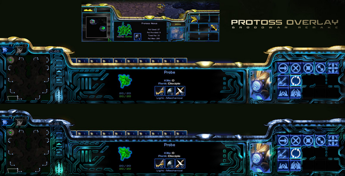 Protoss UI - BW Remake (Golden-Cyan and Shakuras) by Dexistor371