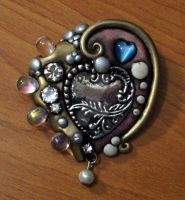 Blushing Heart Brooch by MandarinMoon