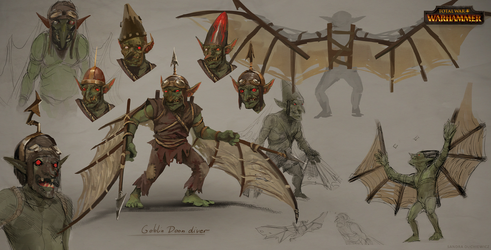 Total War: Warhammer Concept Art Goblin Doom Diver by telthona