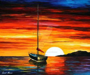 Sunset By The Hill by Leonid Afremov by Leonidafremov