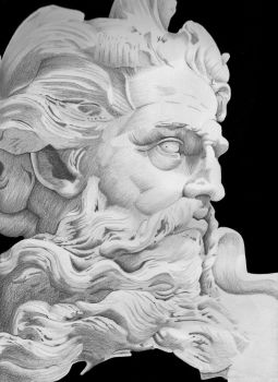 Greek God - Bust of Neptune by RujanSingh