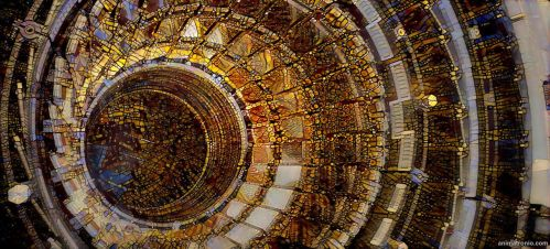 Large Hadron Collider meets stained glass windows by Animatron-io