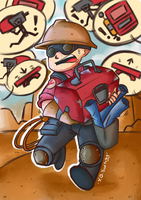 Another hard day for lil' Engie by PatientZeroes