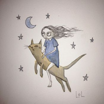At night I ride a cat to the moon. by Loplolly