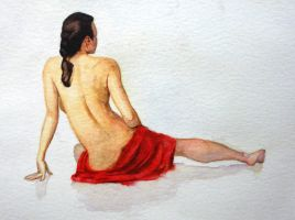 Study of body 'n white skin - watercolour by Glaubart