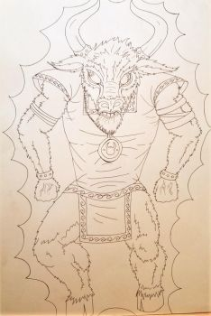 Minotaur - Outline by Cherry-RagDoll