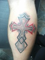 Cross and Maple Leaf Tribal by Shipht