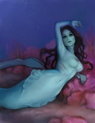Mermaid lounging on reef by stringmouse