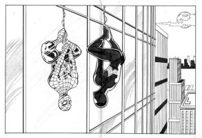 the 2 Spidey's inked by hdub7