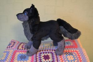Lightningtooth 14 inch Wolf Plush by dot-DOLL