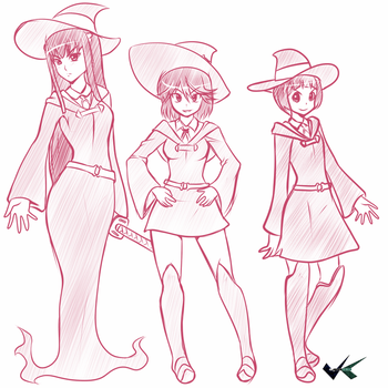 Sketch - Kill la Kill X Little Witch Academia by jadenkaiba