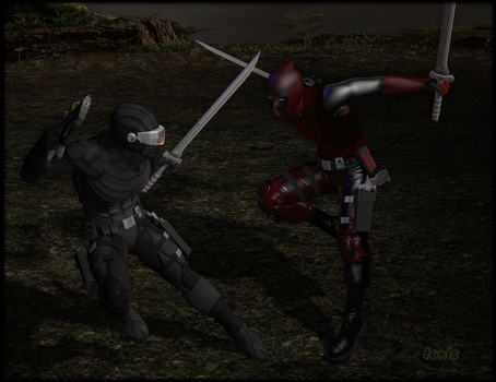 Snake-Eyes vs Deadpool by TonyDumont
