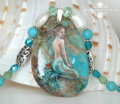 Sea Mist handpainted mermaid necklace close up by Mocten