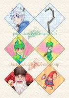 ROTG Keychains: Jack, Tooth, North by piku-chan
