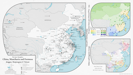Alternate History Map - China, Manchuria, Formosa by banananaise
