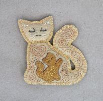 Warm Mother Cat felt brooch by Ailinn-Lein