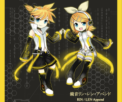 Kagamine RinLen Append chibi by Azelilia