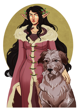 Luthien and Huan by naomi-makes-art73