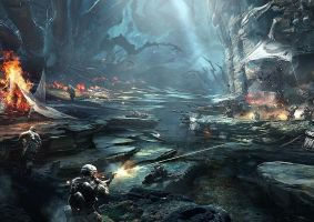 helghast forest battle by tactican