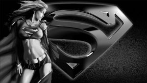 Supergirl Wallpaper - Black  White by Curtdawg53