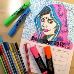 Indian Girl Coloring Calendar by LoVeras