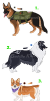 OC Canine Adoptables- Work Dog Edition: CLOSED!!! by Sedillo-Kennels