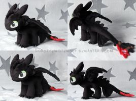 [PLUSH] Mini Toothless v.1.2 (FOR SALE) by ShiroTheWhiteWolf
