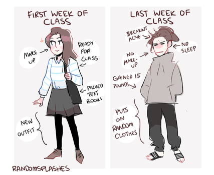 first week of class vs last week of class by Randomsplashes