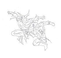 Hellspawn vs daredevil drawing by electronicdave