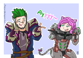 Genji and Maeve swap, Paladins and Overwatch by stephenc94