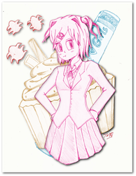 The Literature Club's Cute, Manga-Loving Baker by thechaosblue