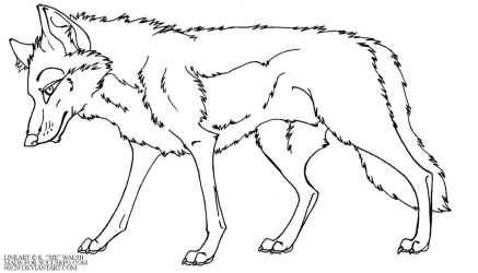 Free Wolf standing Lineart by forumroleplay
