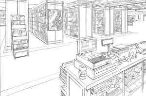 Comic and bookstore interior by DerekRodenbeck