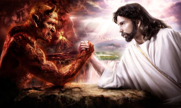 Devil vs Jesus by ongchewpeng
