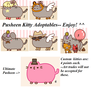 Pusheen Kitty Adoptables (Batch 1) by Nilzii-Puff