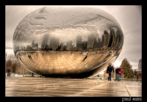 Chicago Cloud Gate Winter by paulsaini