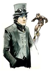 steampunk character sketch by Schall