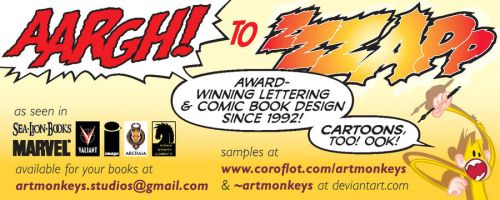 Promotion for comic book lettering and design by artmonkeys