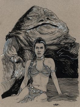 Inktober 2017 Day 16 - The Princess and the Hutt by Jerantino